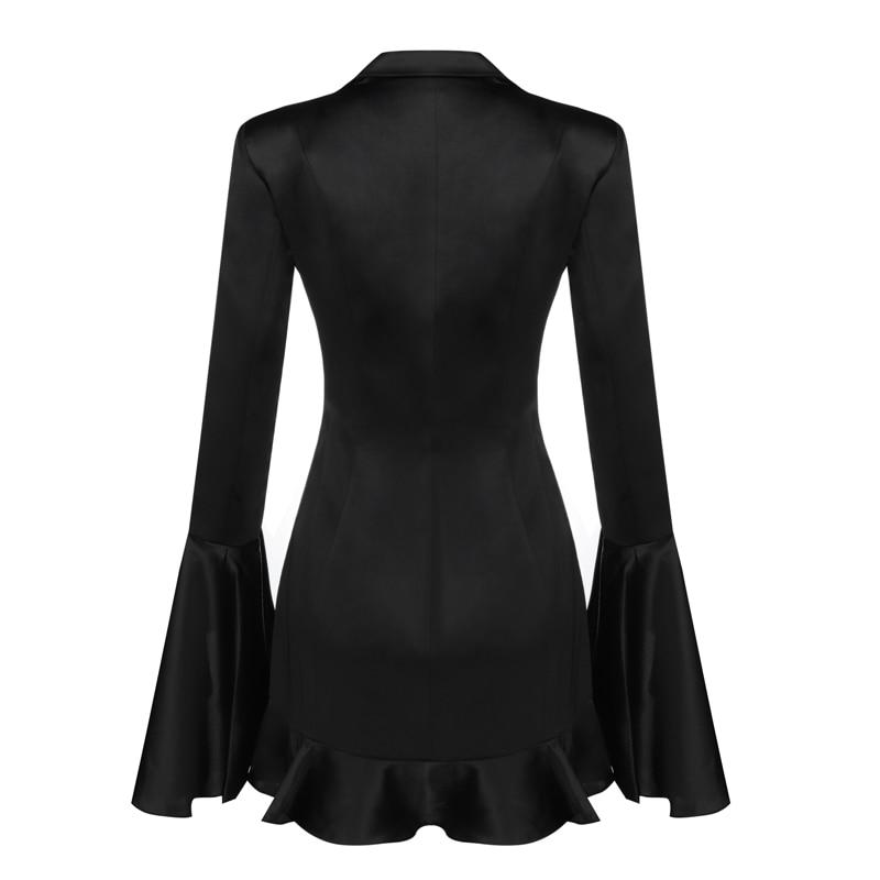 Gros Ruches Sexy Femmes V Qualité Profond Col Robes Mode À Moulante De Robe Noir Soirée Haute En Manches Longues UY5q7Rw