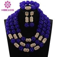 2017 Fabulous Fuchsia Blue Crystal Balls Wedding Jewelry Set Royal Blue Bridal Indian Jewellery Necklace Set Free Ship ABH340
