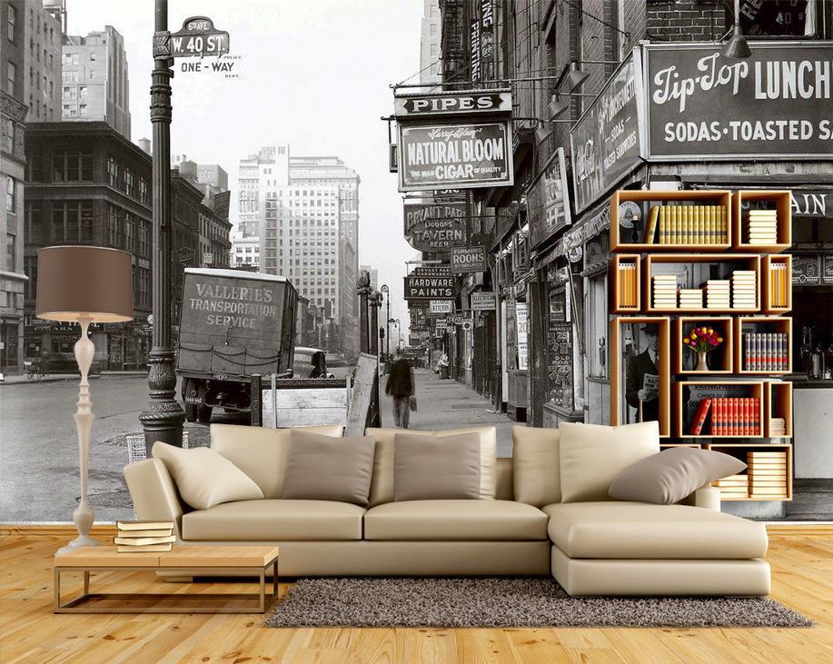3d behang voor kamer zwart wit art street architectuur for Behang kamer