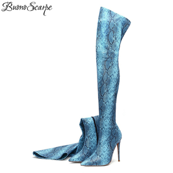 Buono Scarpe 2019 Animal Printed Over The Knee Boots Sexy High Heel Thigh Boots Snake Pattern Pointed Toe Long Botas Mujer Shoes