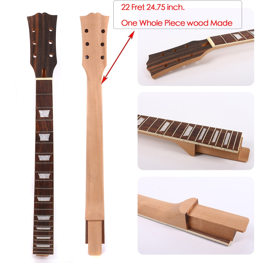 Yinfente Guitar Neck 22 Fret One Piece Mahogany Rosewood Fretboard 24.75 Inch For Set in Style LP noulei ballscrew support bk17 bf17 c3 linear guide screw ball screws end supports cnc
