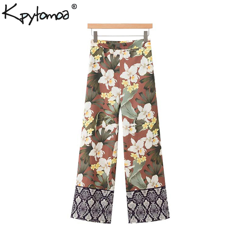 Vintage Chic Floral Print Pockets   Wide     Leg     Pants   Women 2019 Fashion High Waist Side Zipper Trousers Casual Pantalones Mujer