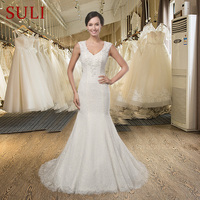 SL001 Elegant V Neck Sweet Iovry Lace Mermaid Wedding Dress Romantic Appliques Backless Simple Bridal Gown