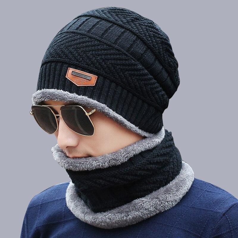 Collo scaldino di inverno cappello di lana sciarpa cappello cap Cappelli di  Inverno Per gli uomini 319c9005bb1a
