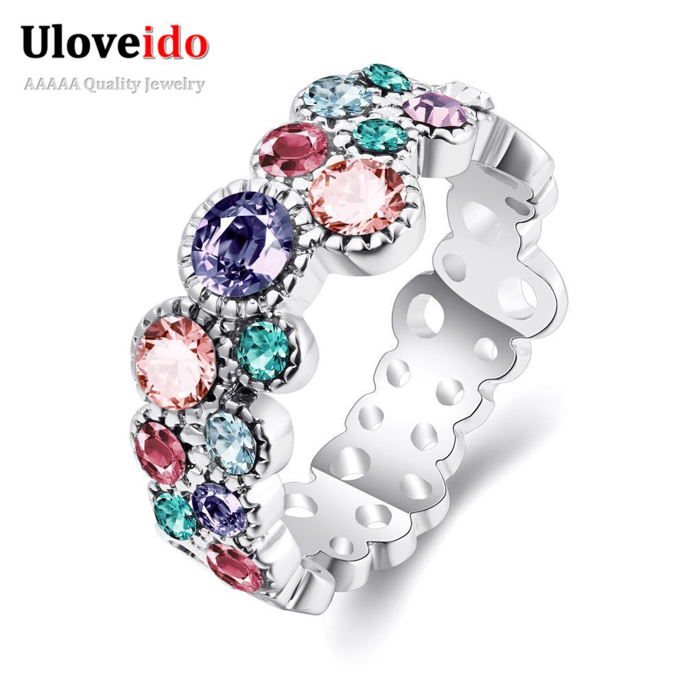 Uloveido Rings for Women Cubic Zirconia Sale Famous Silver Color Mystic Jewellery Wedding Jewelry Ring Christmas Gifts R044-B-8