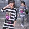 2017 Primavera crianças roupas meninas define vestuário para meninas adolescentes esporte terno listrado imprimir cotton crianças agasalho meninas roupas