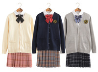 Warm Korean JK Uniform Suits Long Sleeve Autumn Winter Round Collar Shirt Pleated Skirt Knitted Sweater Jacket Students Clothing