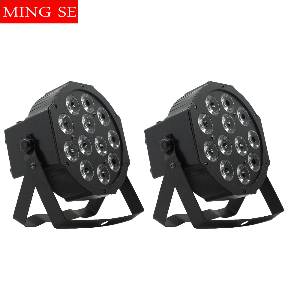 2pcs/lots 12w led lamp beads 12x12W led Par lights RGBW 4in1 flat par led dmx512 disco lights stage light