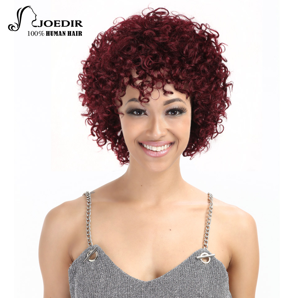 Joedir Human Hair Wigs Machine Made Remy Kinky Curly Wigs For Black Women Color 99j# And 19 Colors Choice Free Shipping