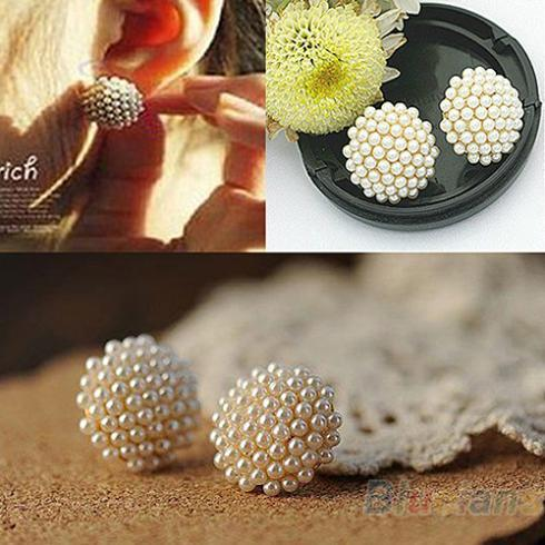 NEW Women Female Popular White Beads Pearl Mushroom Shape  Stud Earrings Ear Studs 1NIE