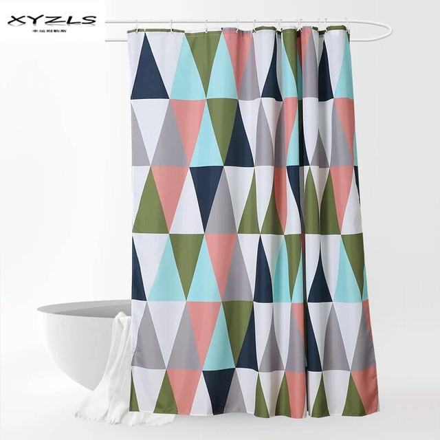 XYZLS North Europe Style Colorful Geometric Pattern Shower Curtain Polyester Waterproof Mildewproof Bathroom Curtains With Hooks