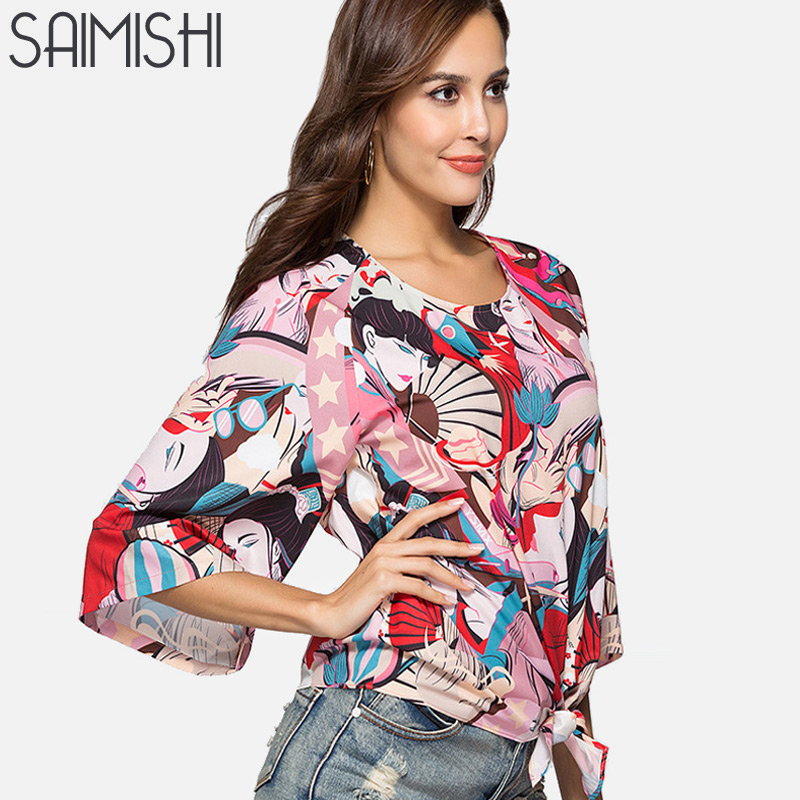 Saimishi Summer Loose Women Blouses Character and Stars Mixed Print Fashion Raglan Sleeve Knot Front Blouse with 3/4 Sleeve