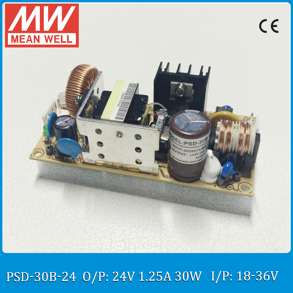 Original MEAN WELL 30W dc dc converter PSD-30B-24 Input 18~36V to output 24V 30W 1.25A PCB type dc dc isolated converter dc 18