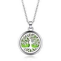 Baum des Lebens Edelstahl Aroma Box Anhänger Halskette Magnet Aromatherapie Ätherisches Öl Diffusor Box Medaillon Anhänger Schmuck
