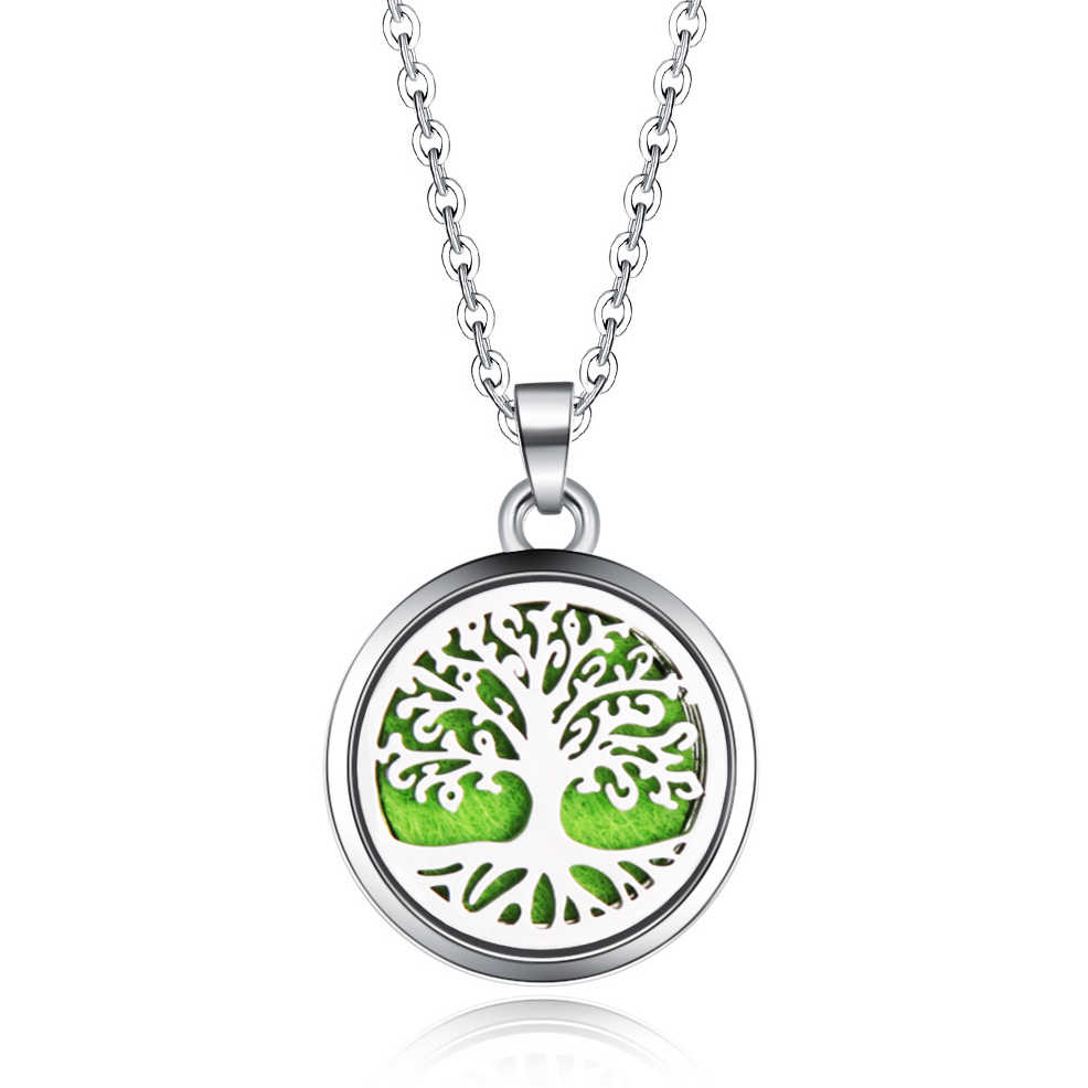 Tree of Life Stainless Steel Aroma Box Pendant Necklace Magnetic Aromatherapy Essential Oil Diffuser Box Locket Pendant Jewelry