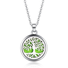 Tree of Life Stainless Steel Aroma Box Pendant Necklace Magnetic Aromatherapy Essential Oil Diffuser Box Locket Pendant Jewelry(China)