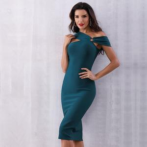 Image 4 - 2020 Summer Elegant Party Bodycon Bandage Dress Women Green Sleeveless One Shoulder Sexy Night Club Female Vestidos Clothing