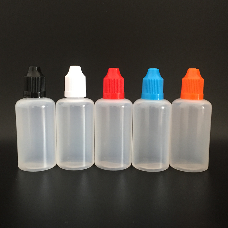 1000pcs 50ml PE Soft Empty Plastic Dropper Bottle with Child proof Caps and long thin tips