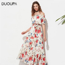 купить DUOUPA Summer Dress Women 2019 Sexy Off Shoulder A-Line Sashes Chiffon Beach Party Dress Vintage Print Maxi Boho Dress Vestidos дешево