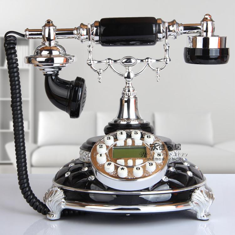 The new European antique landline retro fashion white brick phone telephone Decoration home art rustic household corded phone