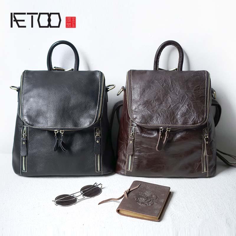 AETOO Simple leisure school bag genuine leather shoulder bag women original first layer cowhide travel dual