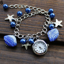Women's Girl's Jewelry Beads Shell Chain watches Bracelet Cuff Quartz Dress Wrist Watch New Design 5DCP 6YLR(China)