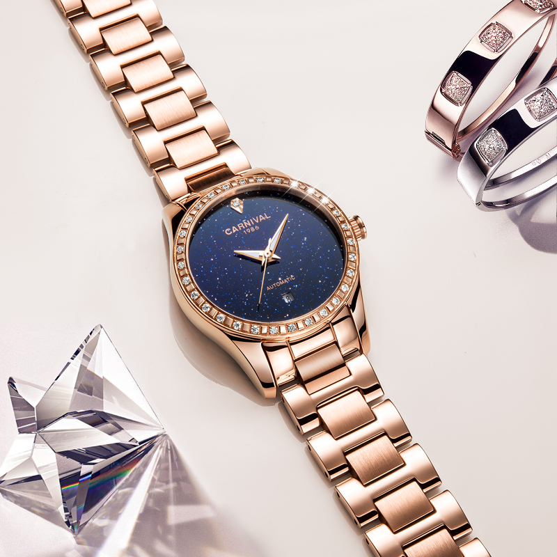 2017 New CARNIVAL Women's TopBrand luxury Hollow Stars Dial Crystal Inlaid Wrist Watch Rose Gold Steel Fashion relogio feminino