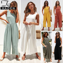 feb215935e9 Long Rompers Womens Jumpsuit 2019 White Elegant High Waisted Wide Leg  Jumpsuit Long Pants Female Backless Loose Overall