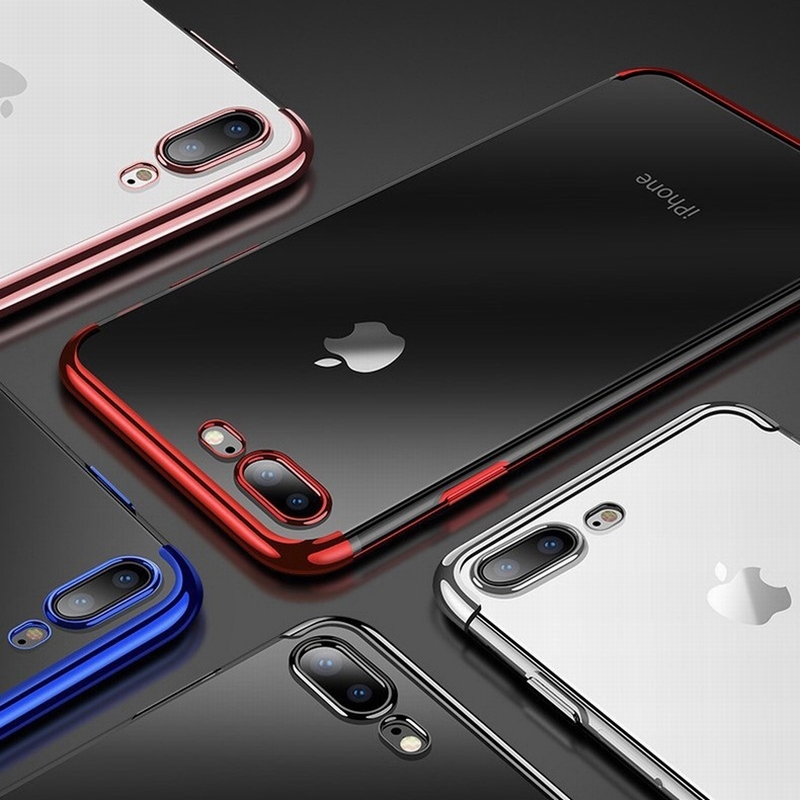 Luxury Plating Case For iPhone Xr X XS Max Electroplating Slim Soft TPU Silicone Cover For iPhone 6 6s 7 8 Plus Shell Capinhas in Fitted Cases from Cellphones Telecommunications