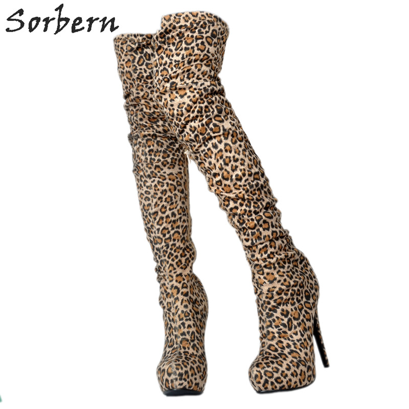 Sorbern Women Boots Leopard Ladies Fashion Party Over The Knee Length High Thin Heels Round Toe 2018 Botas FemininaSorbern Women Boots Leopard Ladies Fashion Party Over The Knee Length High Thin Heels Round Toe 2018 Botas Feminina