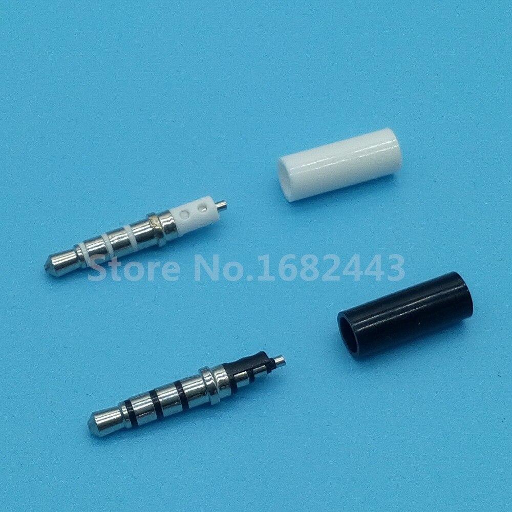 цена на 10pcs 3.5mm stereo headset plug jack 4 pole 3.5 audio plug Jack Adaptor connector for iphone white and black