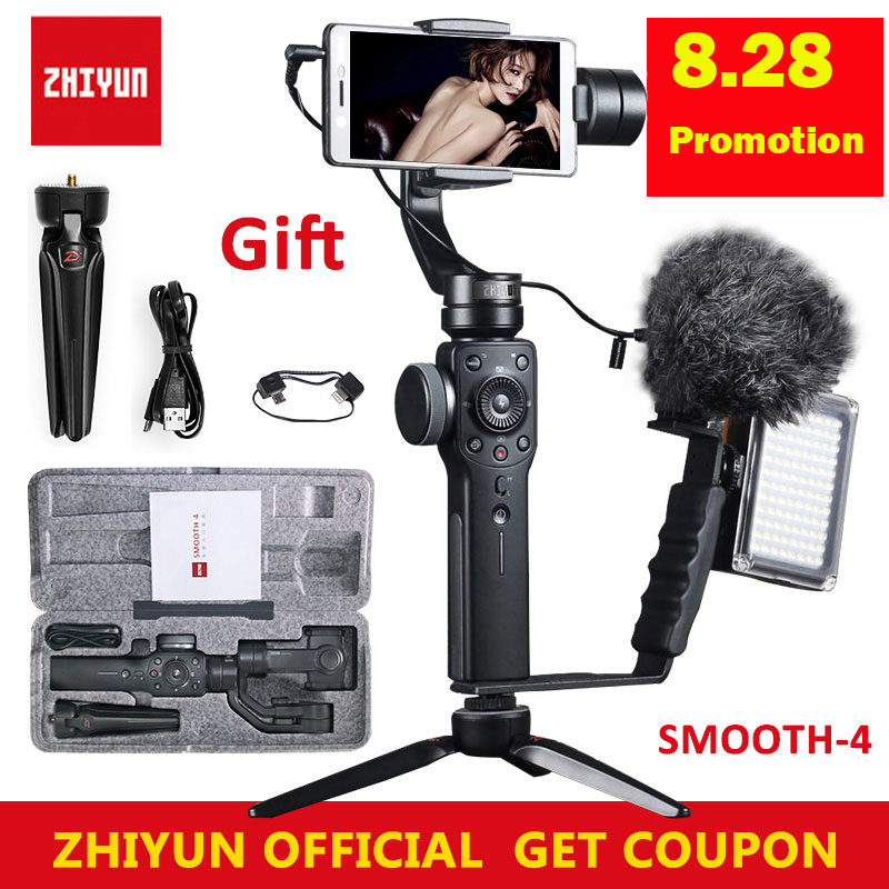 Zhiyun Smooth 4 Handheld 3-Axis Brushless Gimbal Stabilizer for iPhone X Xs for Samsung for gopro hero 7 6 PK DJI Osmo 2 Mobile instock zhiyun smooth 4 3 axis handheld gimbal auto focus stabilizer for iphone x gopro hero sjcam cam xiaomi pk smooth q