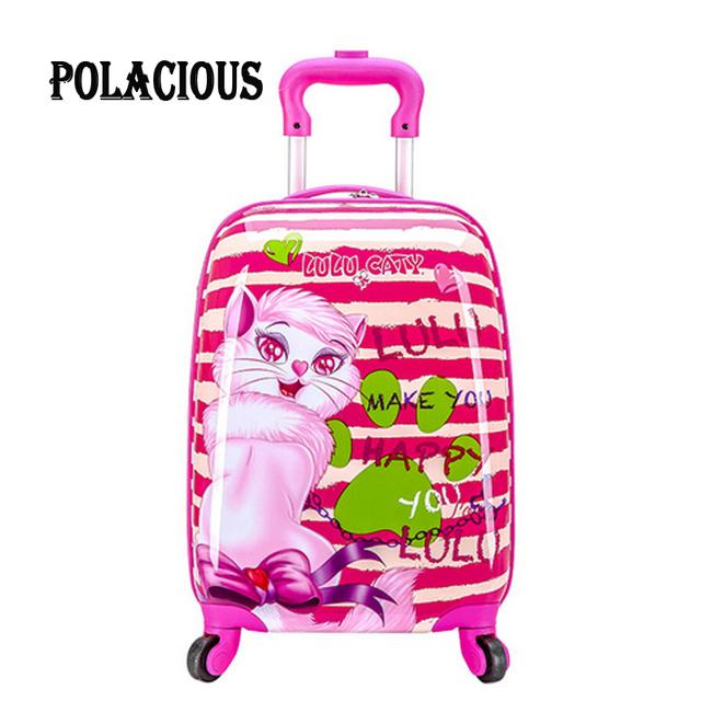 "18 ""Nueva moda weel Spinner maleta Niños/Niñas Niño Princesa Gato de Dibujos Animados ABS caja de la carretilla/Niñas de Los Niños Maleta de equipaje"