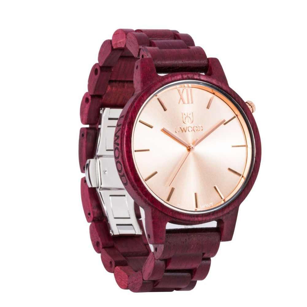 UWOOD nueva sandalia púrpura Color madera marca Simple Casual decorativo hombres niño reloj de madera