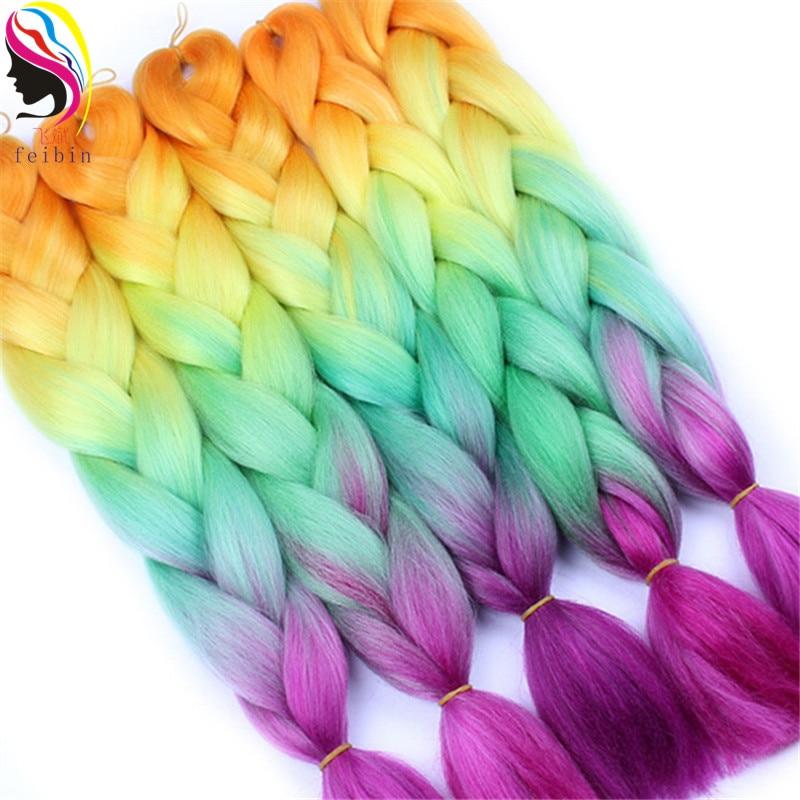 Feibin Crochet Tranças Extensões de Cabelo Sintético da Extensão Do Cabelo Da Trança 24 polegadas Ombre Cores Frete Grátis