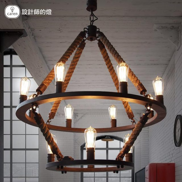 vintage loft rope hemp pendant light double layers iron hanging lamp manmade fixtures industrial style hotel