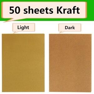 Image 2 - 50 גיליונות A4 חום קראפט נייר מדבקות עצמי דבק הזרקת דיו לייזר A4 הדפסת תוויות