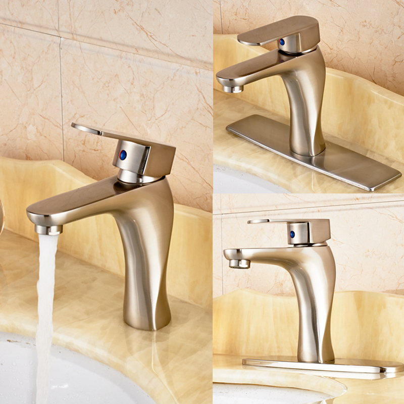 Single Handle Brushed Nickel Bathroom Basin Faucet Vanity Sink Mixer Tap quyanre waterfall basin faucet blackend orb nickel single handle mixer tap sink vanity faucet bathroom basin tap