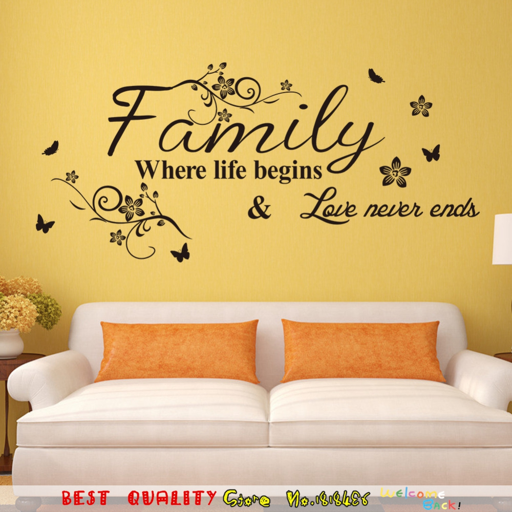 Family Life Begins Love Never Ends Waterproof Wall Stickers ...