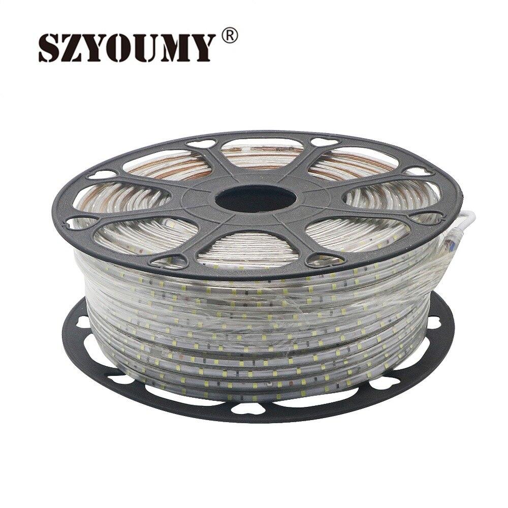 SZYOUMY 220 V светодиодный полосы 2835 60 светодиодный s/M IP65 Водонепроницаемый с Мощность адаптер гибкая светодиодная лента на открытом воздухе на глубину до 50 м 100 м Бесплатная товаров