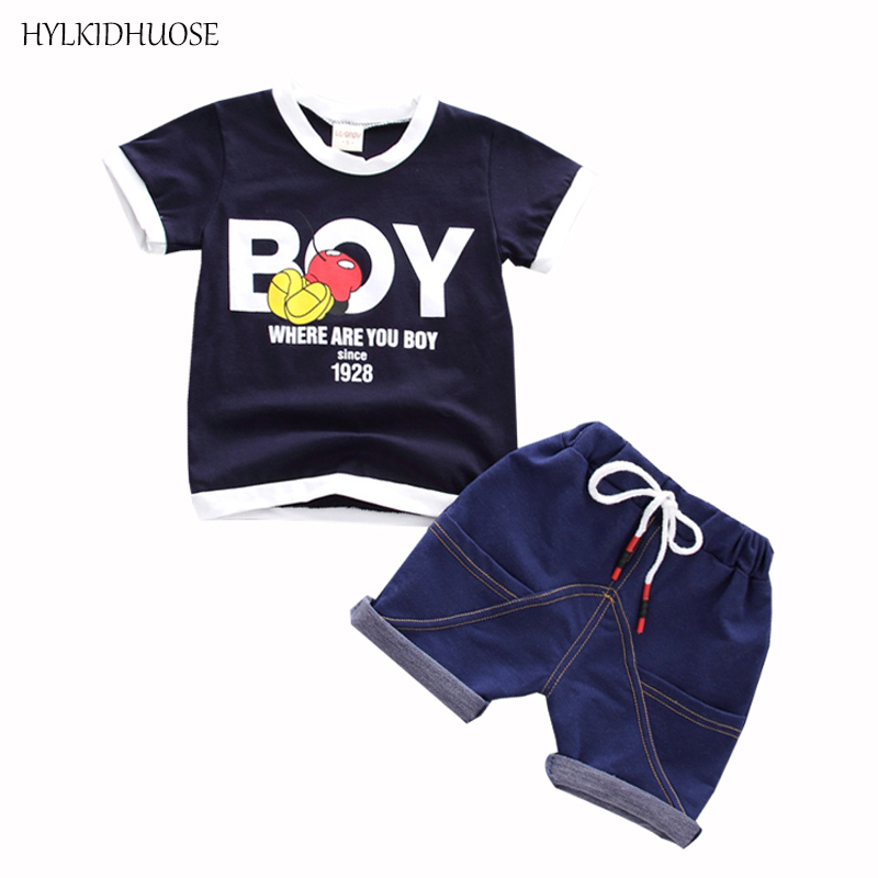 HYLKIDHUOSE Summer Baby Boys Clothes Suits Casual Sports Infant Clothing Sets Cartoon T Shirt Shorts Children Kids Clothes Suits