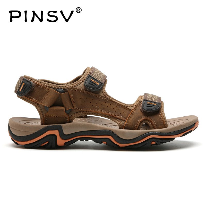 PINSV Hot Sale New Fashion Summer Leisure Beach Men Shoes High Quality Leather Sandals The Big Yards Mens Sandals 38-48