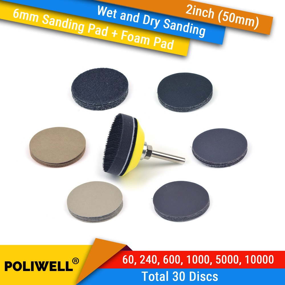 2 Inch 50mm Assorted Grits Silicon Carbide Hook&Loop Sanding Discs+ 6mm Backing Pad + Foam Interface Pad For Wet/Dry Sanding