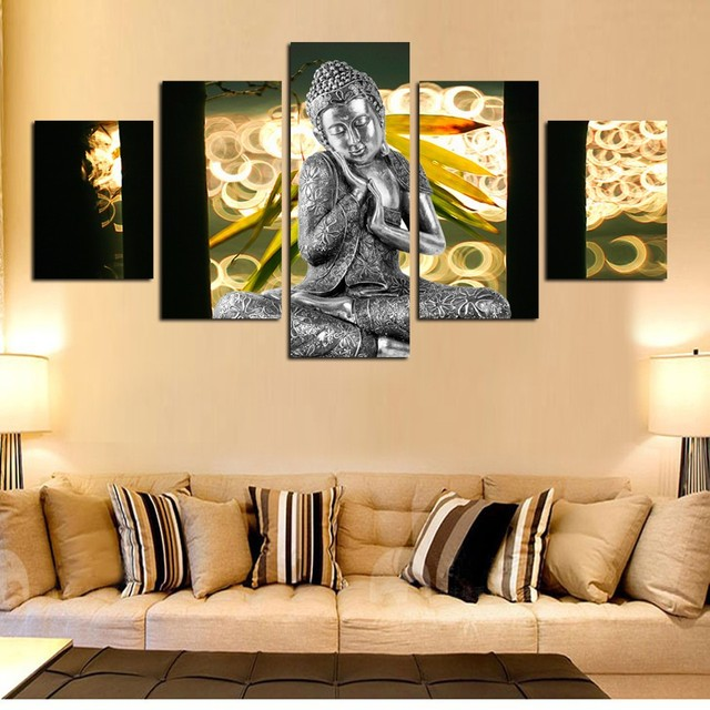 Art Buddha portrait canvas 5Pcs unframed wall print picture HD ...