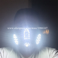 New Design Red 4 Lasers Led Light White Color Luminous Flashing Halloween Mask Headwear For DJ Club Party Christmas Decoration