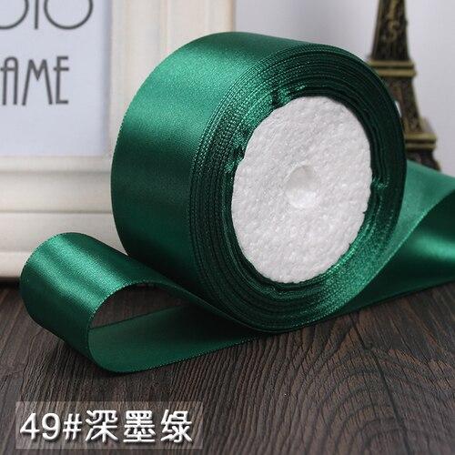 25 ярдов/рулон 6 мм, 10 мм, 15 мм, 20 мм, 25 мм, 40 мм, 50 мм, шелковые атласные ленты для рукоделия, швейная лента ручной работы, материалы для рукоделия, подарочная упаковка - Цвет: Deep dark green