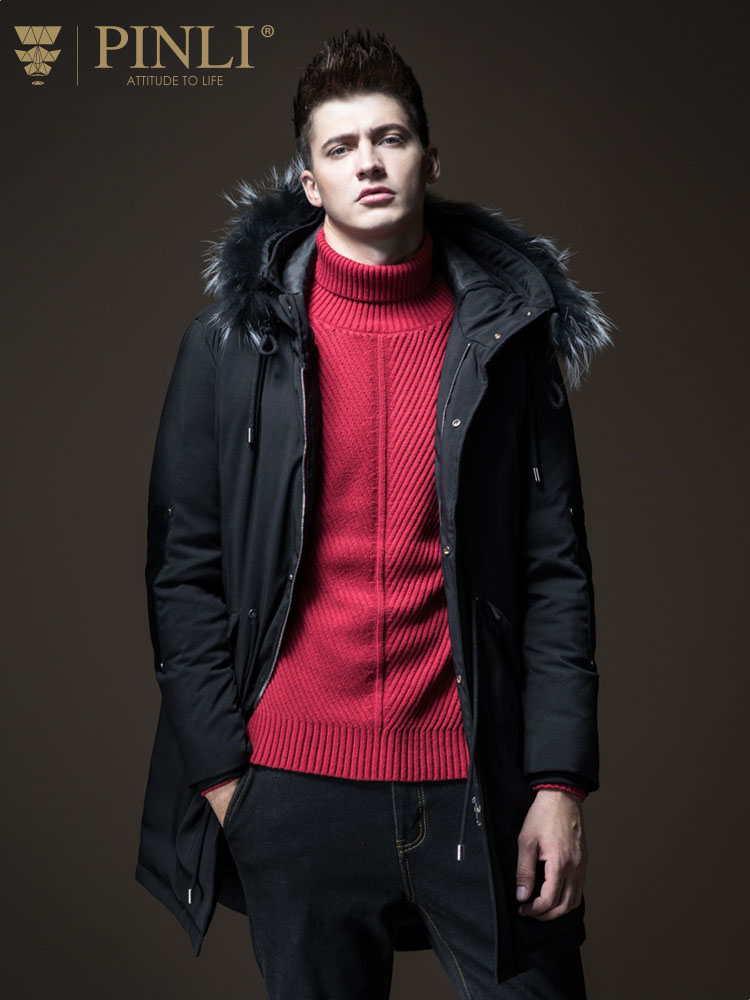 Sobretudo Real Pinli 2018 New Winter Men's Wear Removable Hooded Medium Length White Duck   Down   Jacket Male   Coat   B183508406