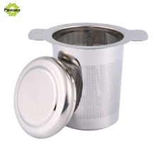 Pawaca Stainless Steel Mesh Tea Infuser Strainer Reusable Tea Filter Mug with Lid and Double Handles for Loose Leaf Grain Teapot