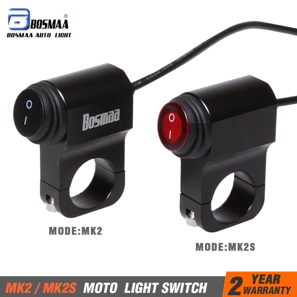 1Pcs BOSMAA Motorcycle ON/OFF Headlight Switch 7/8 22mm LED Fog Spot Light DC 12V Waterproof Aluminum Alloy