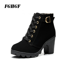 New autumn winter high heel big size female boot cross bind belt short thick Martin leather 34-41